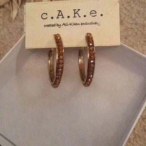 Brown stone hoop earrings